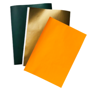 3 planches d'étiquette imprimée verte, or et orange