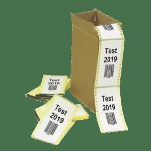 étiquettes imprimées en format paravent dans carton personnalisé