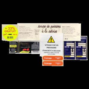 étiquettes imprimées dans plusieurs formats différents